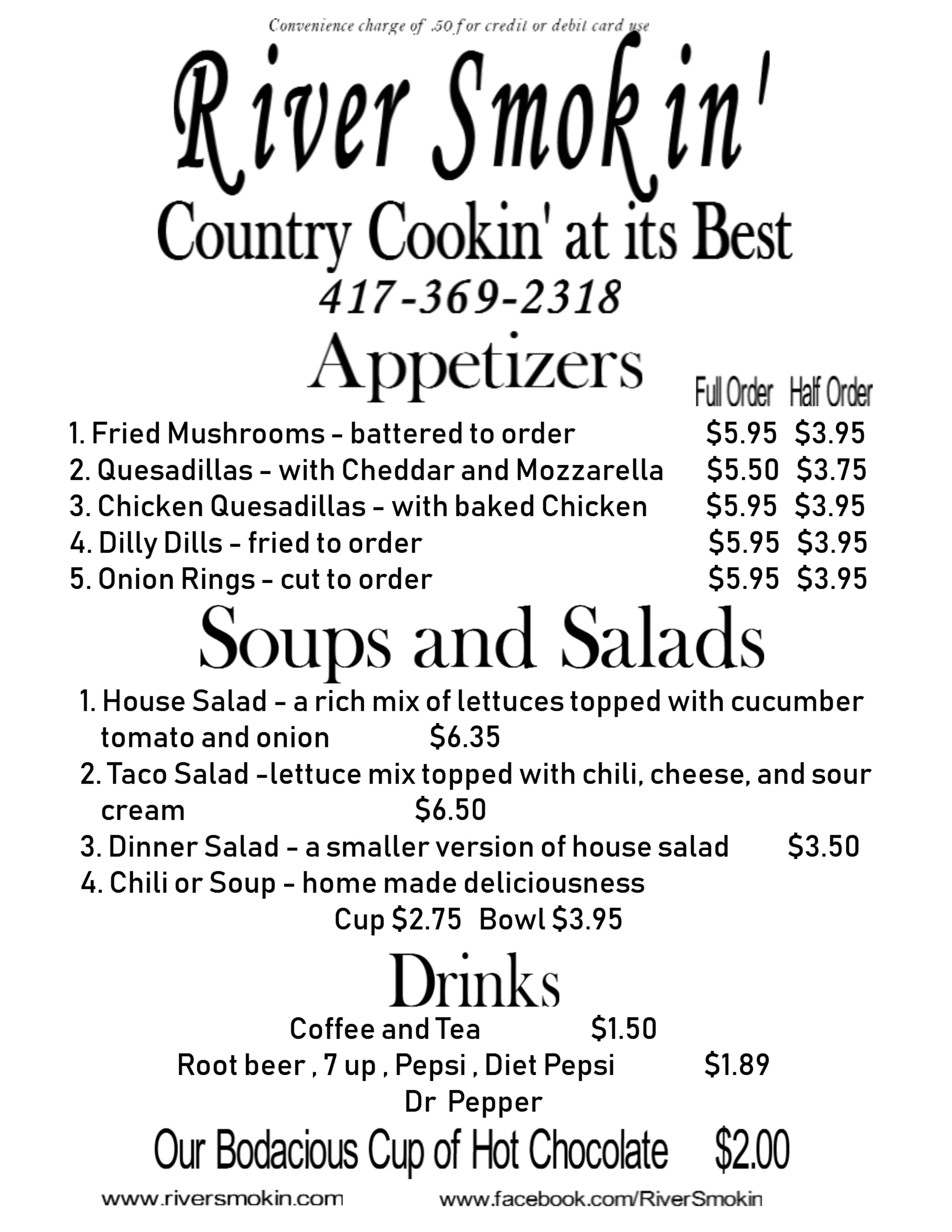 Appetizers and Salads Menu